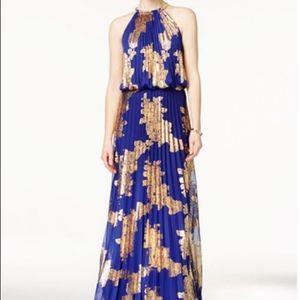 MSK Gorgeous Greecian Style Maxi Dress Blue & Gold